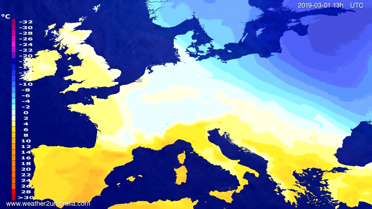 #Weather_Forecast// Temperature forecast Europe 2019-02-28