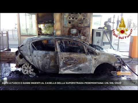 AUTO A FUOCO E DANNI INGENTI AL CASELLO DELLA SUPERSTRADA PEDEMONTANA   29/09/2020
