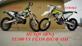 8. Husqvarna TE300 vs FE350 Race Down the Wash