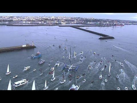 ヨット世界一周で新記録 仏レーサーが42日16時間で (видео)