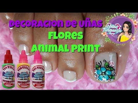 Decorados de uñas - Diseño de uñas pies de flores - Easy flowers toenail