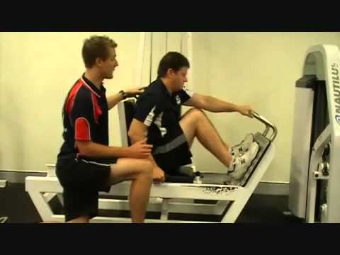 FITCollege - http://www.FitCollege.edu.au/ Today our Fit College Trainer Mark, shows Matt how to use the Multiple Joint Movement Leg Press. Discover what muscles this exe...