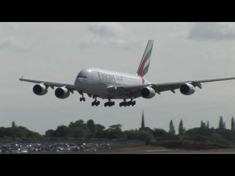 Emirates A380 at Birmingham Airport's 70th anniversary, with landing and take off (Airside in HD)