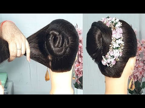 New simple Bun Juda Hairstyle with Trick   Beauitful hairstyles for Wedding/party   Easy Hairstyles