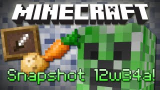 Minecraft: Invisible Creepers, Giant Fires, Potatoes, Carrots&Loads More! Snapshot 12w34a Review!
