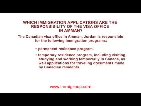 Which immigration applications are the responsibility of the visa office in Amman?
