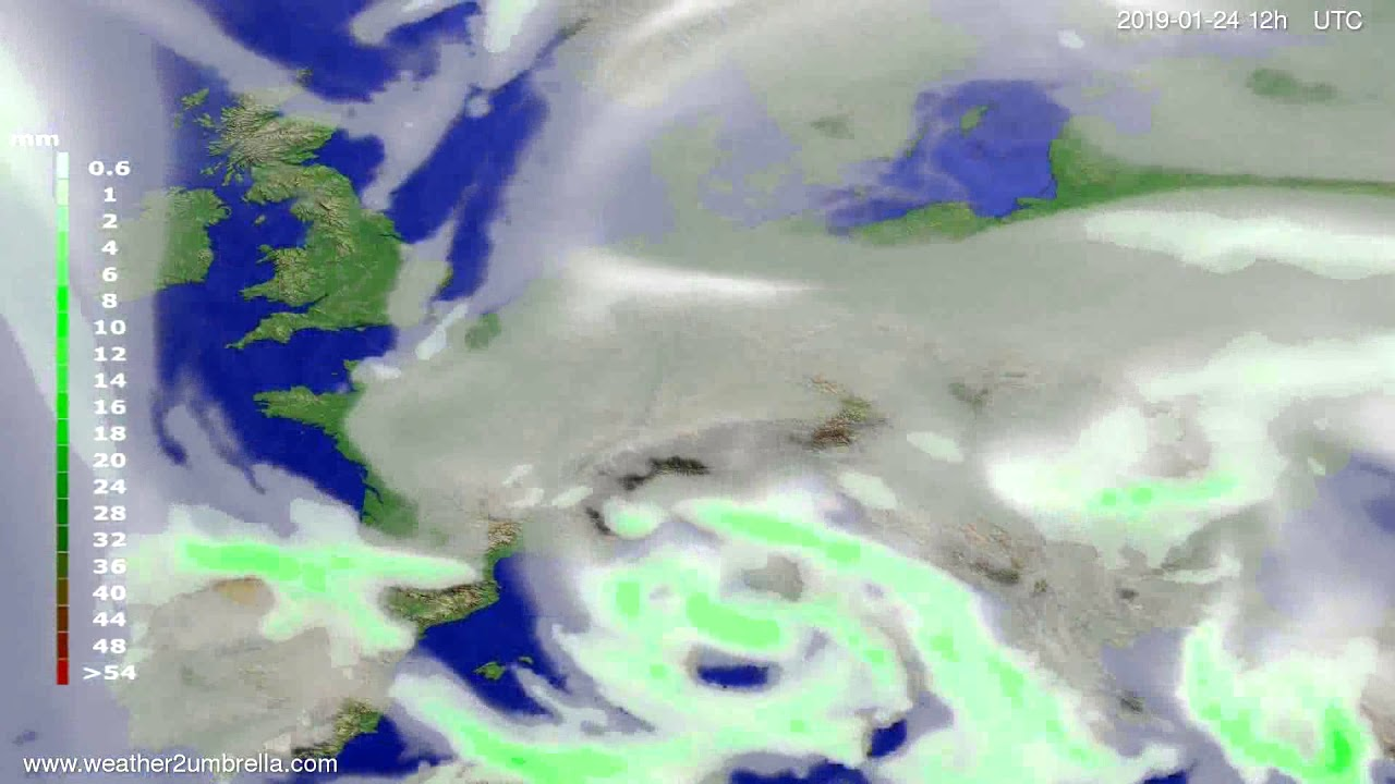Precipitation forecast Europe 2019-01-20