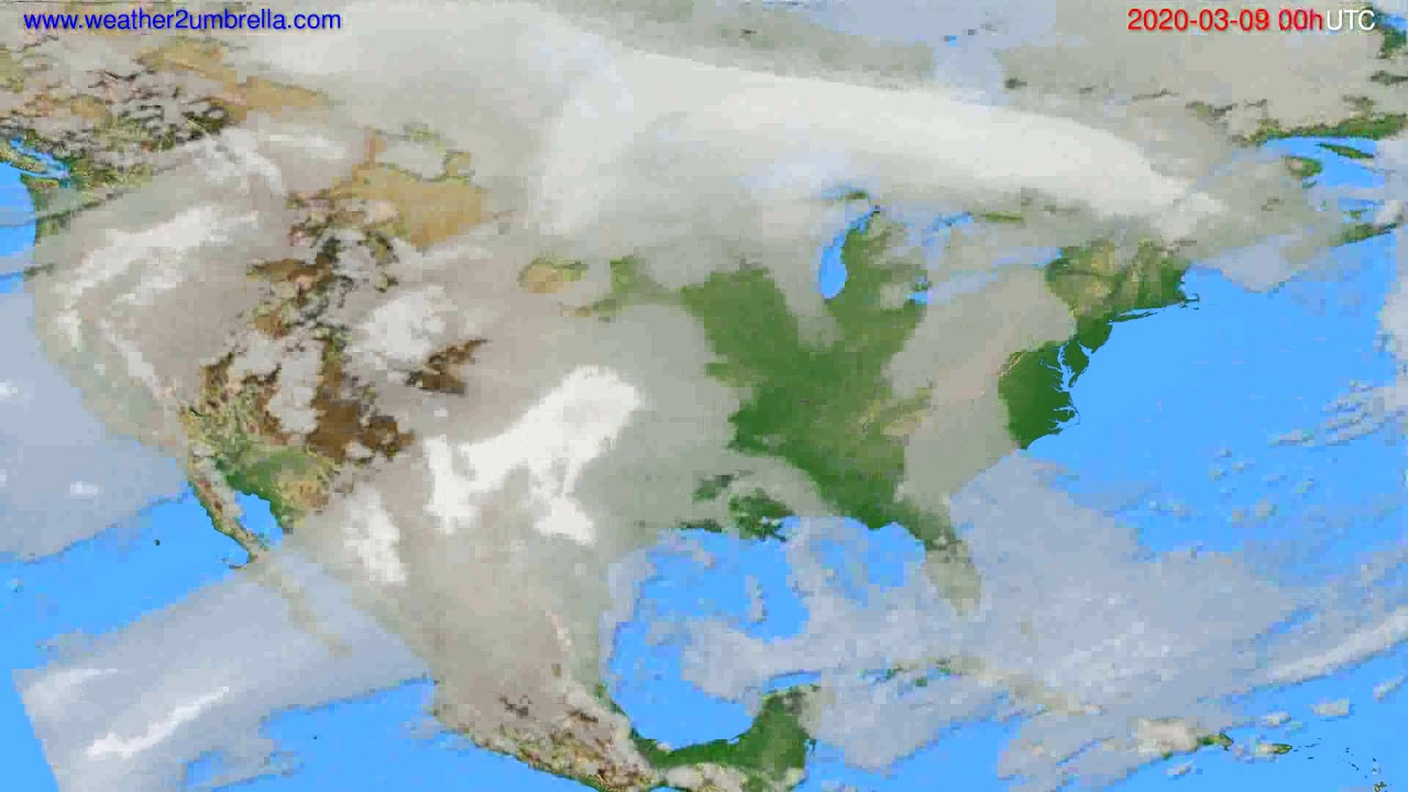 Cloud forecast USA & Canada // modelrun: 00h UTC 2020-03-08