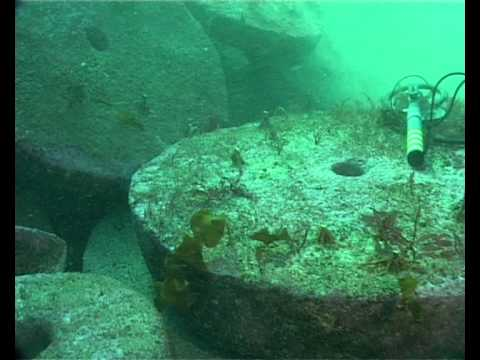 Millstones under water, cultural heritage site, Hordaland, Norway