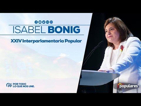 Isabel Bonig, presidenta del PP de Valencia, en la XXIV Interparlamentaria Popular