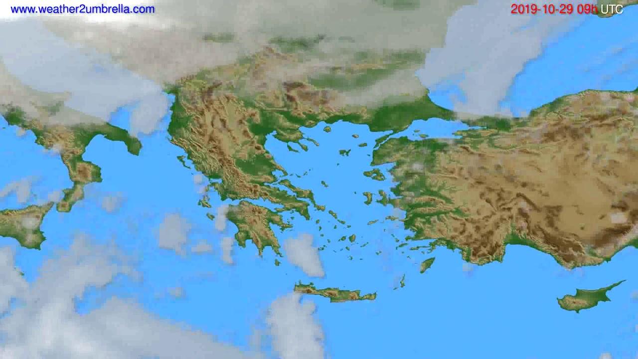 Cloud forecast Greece // modelrun: 12h UTC 2019-10-27