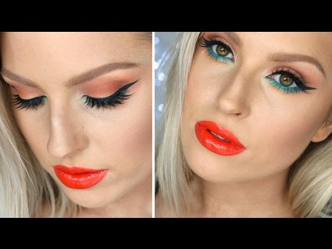 ready - Hey guys! I was inspired to go for something bright so decided on bright red/orange lips and aqua green under my eyes, with a pop of warm peach and bronze on the lids as well! I hope you like...