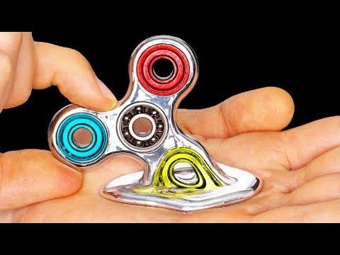 DIY Fidget Spinner MELTS IN YOUR HAND!!!!!!!! Rare Liquid Mirror DIY Fidget Spinners Toys & Tricks (видео)