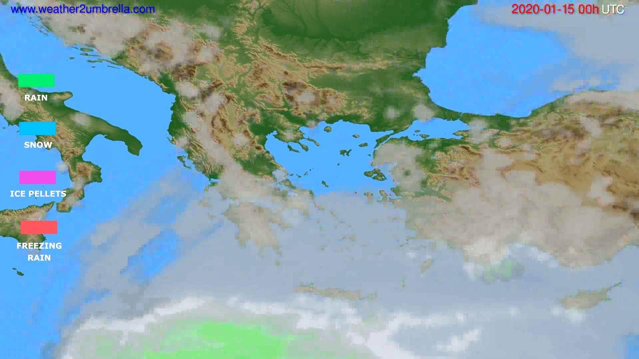 Precipitation forecast Greece // modelrun: 00h UTC 2020-01-14
