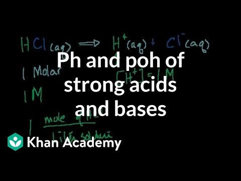 strong base - Learn more: http://www.khanacademy.org/video?v=tS2YJPmKOFQ Calculating the pH or pOH of strong acids and bases.