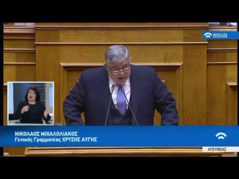 Ν.Μιχαλολιάκος(Γεν.Γραμ.Χρυ.Αυγής)(Προϋπολογισμός 2019 )(18/12/2018)