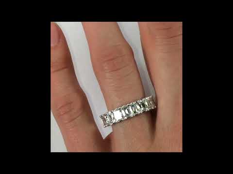 4.75 ct Emerald Cut Diamond Eternity Band in White Gold