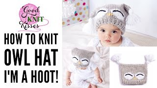 """Let's make a Knit Owl Hat. Make the Bernat I'm a Hoot! Knit Hat by Yarnspirations featuring Bernat Softee Baby Chunky yarn.  Download  pattern and get yarn HERE https://goo.gl/kfxwKkBlog link with more info! http://www.goodknitkisses.com/knit-owl-hat/Notes:  The chart numbered rows are labeled to start as """"1"""".  This is actually on the 5th row of the main pattern.  Do not confuse chart rows for pattern row numbers.Loom knit information:Recommend a Regular or Large Gauge loom with at least 27-29 pegs.  a Knifty Knitter 31 peg round loom or 48 peg round loom should work nicely.  Project worked in a flat panel back and forth. All RS (Right Side) rows on the needle pattern are correct.  For the even or WS (Wrong Side) rows you will knit the purls and purl the knits in the WRITTEN instructions.  On the chart you will see all stitches are knit.  The main pattern is a knit stockinette and the beginning and end are 1x1 ribbing. use a U-Knit or true/traditional Knit stitch instead of an E-wrap Knit.Converted row instructions:On Row 2 You will repeat just as Row 1 is written. On Row 4 you will knit the entire row; just as Row 3 is written.On Row 6 Do not purl; this row is all knits but will have color changes just as row 5 but follow the chart on page 2 for specifics.  Listen to instructions on the video.  i do chat about loom info and to watch on charted demo for needles.Notes:  The chart numbered rows are labeled to start as """"1"""".  This is actually on the 5th row of the main pattern.  Do not confuse chart rows for pattern row numbers.All sewing and embellishments video demonstrations are the same on the video whether you are knitting on needles or the loom.Have fun and happy knitting!Kristen at GoodKnit Kisses"""