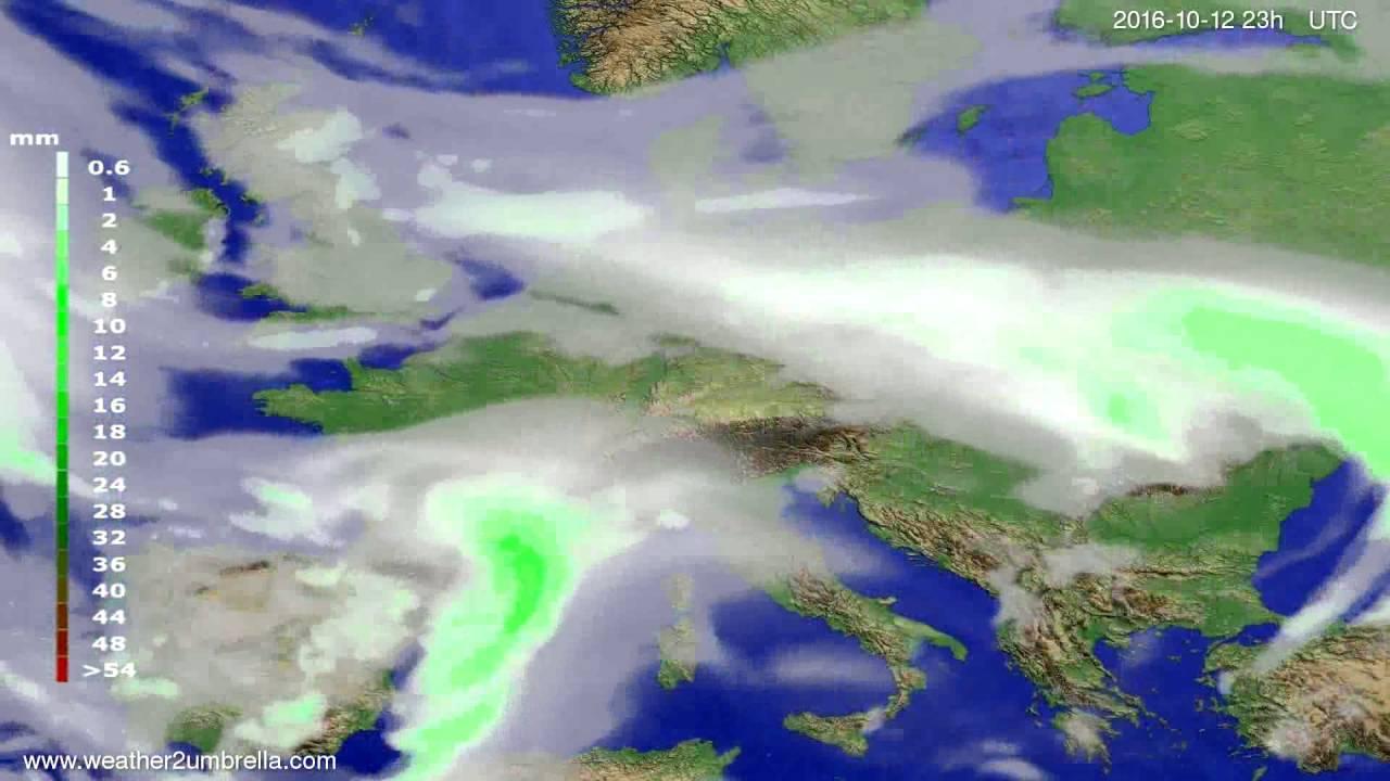 Precipitation forecast Europe 2016-10-09
