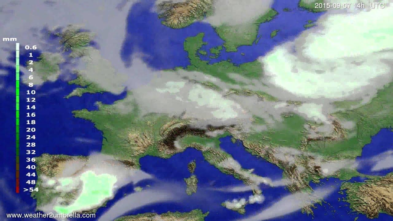 Precipitation forecast Europe 2015-09-05