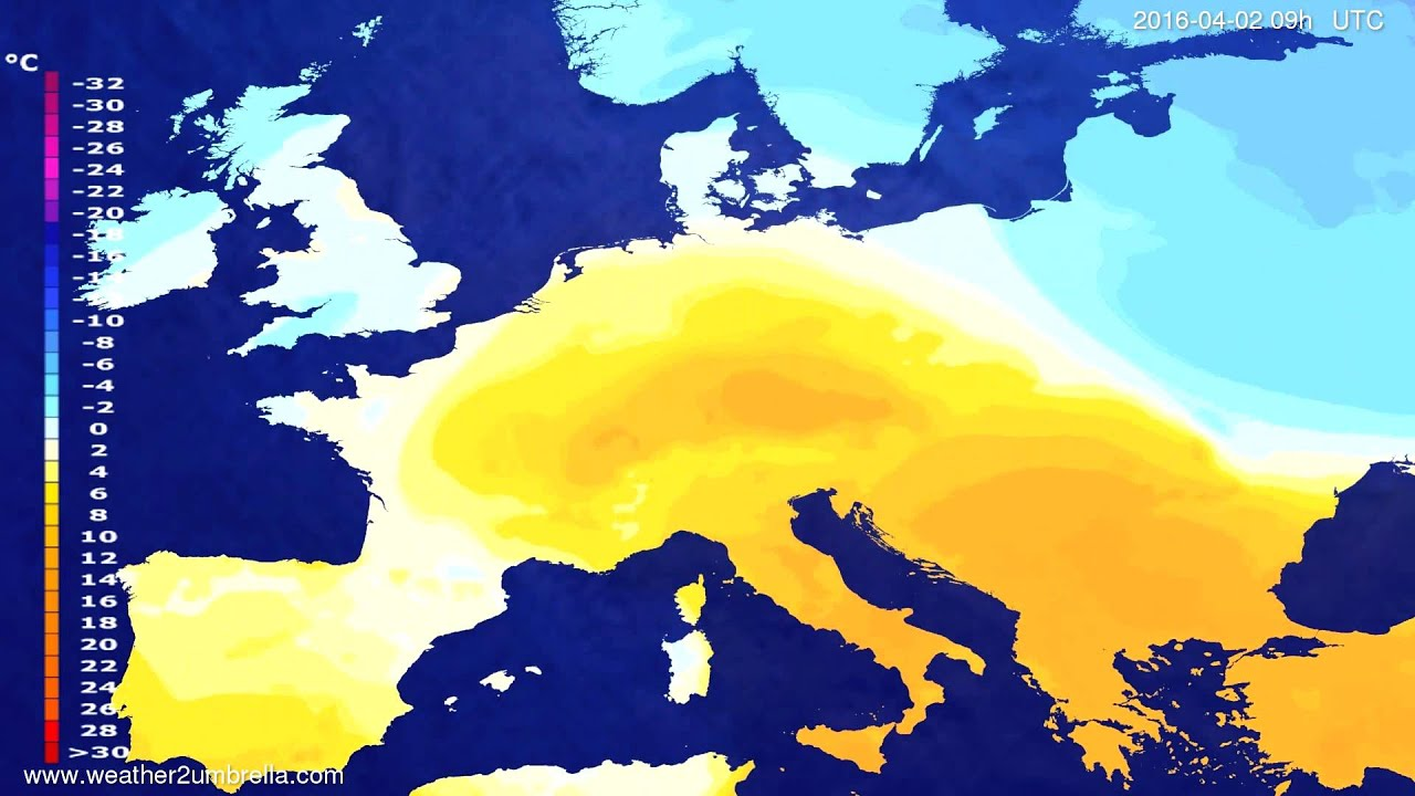 Temperature forecast Europe 2016-03-29