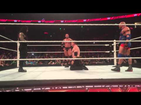 WWE RAW 4/6/2015 The Authority (Seth Rollins, Kane & Big Show) vs Randy Orton, Ryback & Roman Reigns