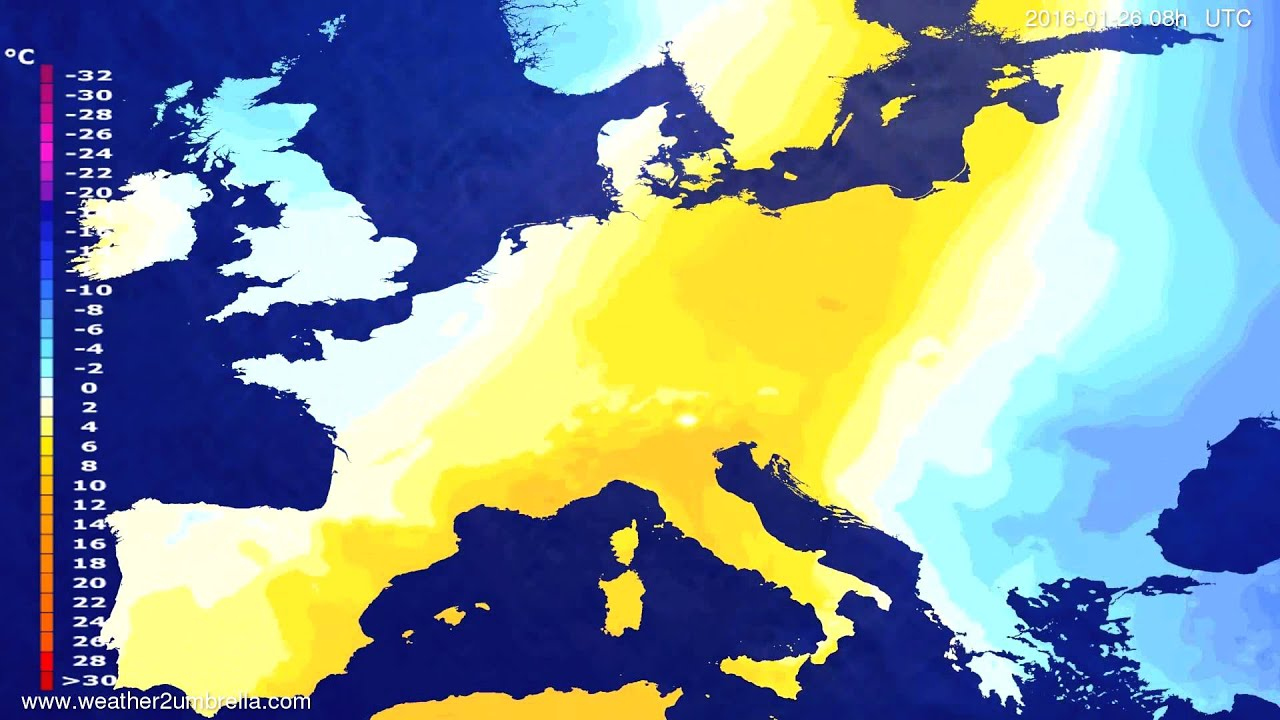 Temperature forecast Europe 2016-01-23