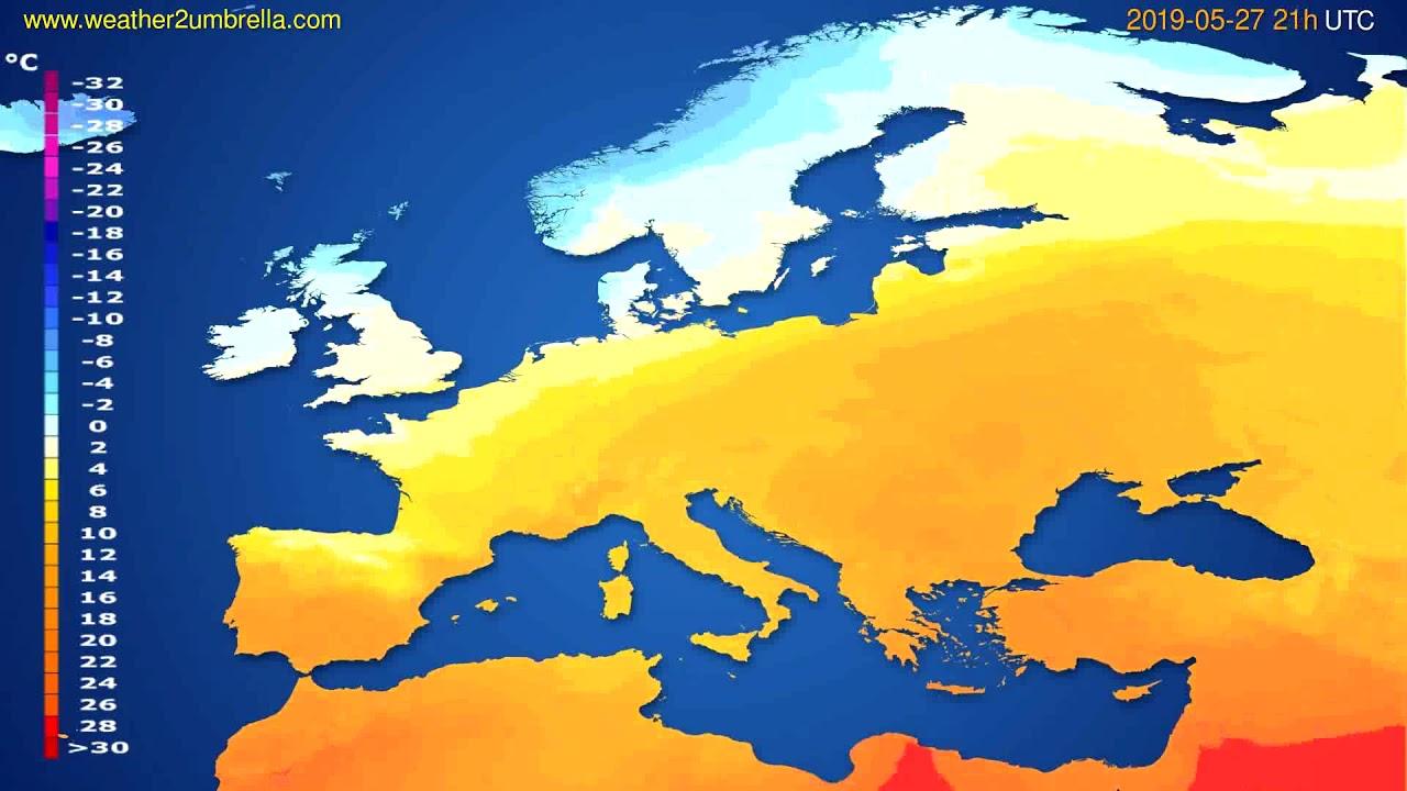 Temperature forecast Europe // modelrun: 12h UTC 2019-05-25