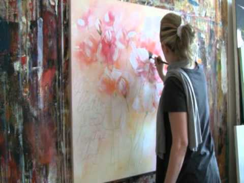 Floral Painting with acrylic colors Demo , Blumen malen in Acryl
