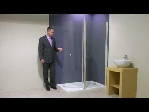 Walk In Shower with large curved glass hinged screen