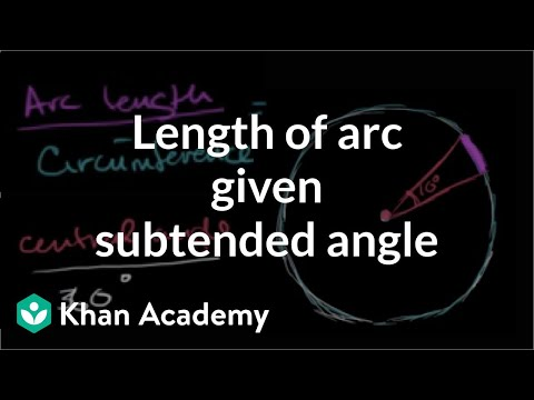 an angle subtended by an arc Finding the length of an arc using the degree of the angle subtended by the arc  and the perimeter of the circle.