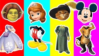 Sofia Princess Wrong Head | Fiona, Mickey Mouse, Puss Shrek Toys playing Right Head | Kids Match up