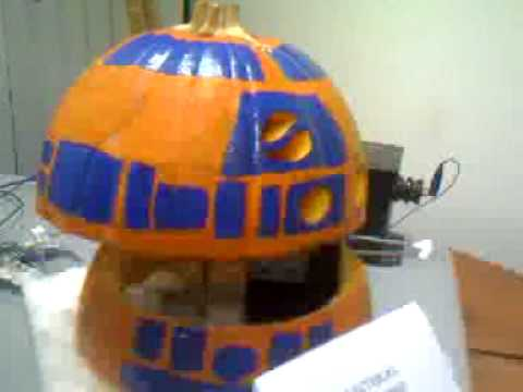 dreamhobbies - R2D2 Pumpkin that our EE team at work put together in a few hours for our Company's Halloween Pumpkin carving contest. We used a single stepper motor, and wr...