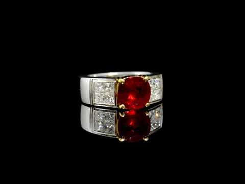 2ct Square Cushion Cut Ruby and Diamond Ring