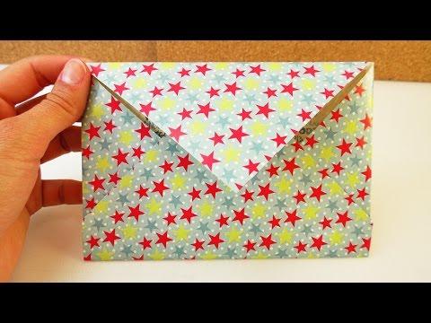 Briefumschlag selber machen - ganz einfach einen Umschlag basteln aus Zeitschriften / buntem Papier