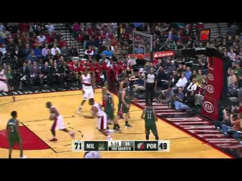 Nicolas Batum dunks on baseline against Bucks