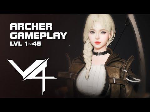 V4 PC Version - Archer Creation & Gameplay - lvl 1~46 - Mobile & PC - F2P - KR