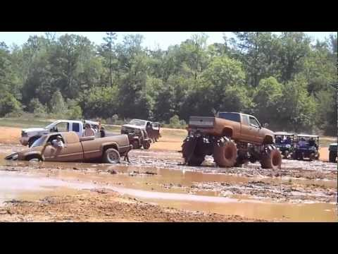 Bumper comes off truck being pulled out of the mud