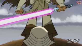 This is a Cartoon Network Micro-Mini Series from 2003-2005. It takes place in between Star Wars Episode 2 Attack of the Clones and Revenge of the SithThis is Season 2 Episode 3Episode Description: Having lost his lightsaber, Master Windu takes on a battalion of Super Battle Droids hand to hand.