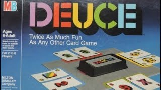 A review on how to play the card game Deuce from Milton Bradley. Fun little game :) You can play a rainbow card at any time, on yourself or your opponent.These 52 cards, 11 cards (0 through 10) in each of 4 colour suits plus 6 Rainbow cards and 2 X cards. You try to go out (empty your hand) during each hand; score is kept and the first player to reach 100 wins.Each player is dealt 6 cards. You begin by placing two cards of your choice in front of you, face up, to create two discard piles. The two cards played must match either by colour or by number. In turn, you play one card from your hand onto any of the discard piles. To play onto a pile, the card played must match the other pile's card in number or colour. If you can't or don't wish to play a card, you must draw cards until you can play one. Should the draw be exhausted, a new deck is made from the discard piles, keeping only the topmost cards.To go out, your discard piles must at least tie all the others in number value. Score is 10 points for the player who went out, plus the combined values of the cards left in the other players' hands. The discards aren't scored.Rainbow cards are wild, being of all four colours at once --they match any card. The card value is zero, which may be handy to reduce an opponent's discard piles value. X cards (also worth zero), on the other hand, can only be matched by Rainbow or X cards.