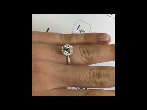 1 carat Round Diamond Halo Engagement Ring