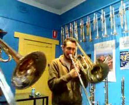 contrabass - Duet for bass and Contrabass trombones... Really fun - thats about it - we unpacked these suckers as part of a trade show and naturally had to test if they w...