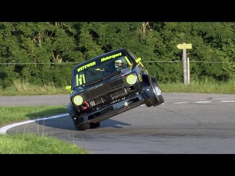Always at (over?) the limit, VW GOLF 1, 2.0 16V by crazy guy Daniel Wittwer. Swiss Hillclimb 2016 (видео)