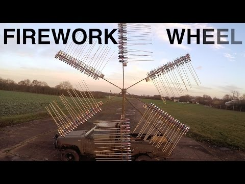 A Giant Fireworks Wheel Powered by 120 Rockets