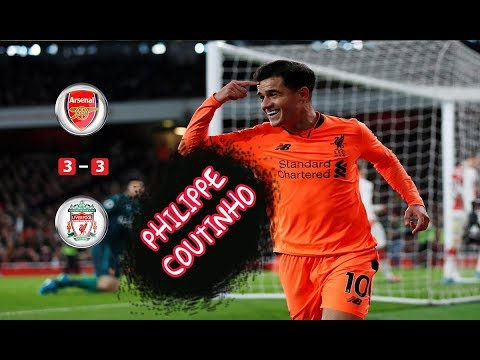 Philippe Coutinho Goal Arsenal 3-3 Liverpool Premier League 22-12-2017