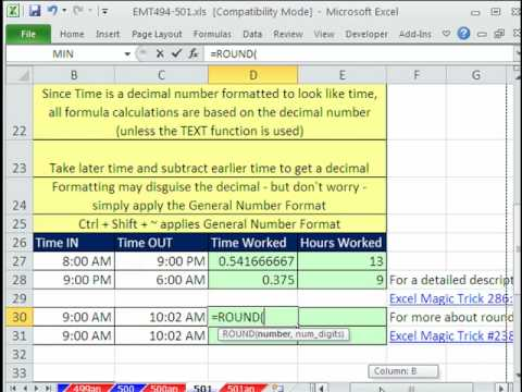 how to calculate hours in excel