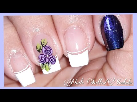 Modelos de uñas - Diseño de uñas facil de hacer/diseño de uñas francés y rosas