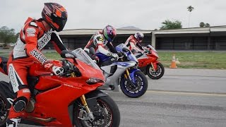 9. 2015 SUPERBIKE DRAG RACE: BMW S1000RR vs. Ducati 1299 Panigale S vs. Yamaha YZF-R1
