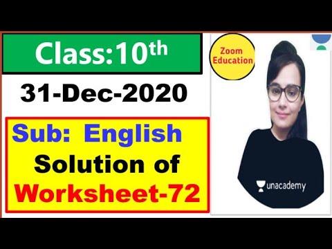 Class 10 Worksheet 72 English || 31 Dec 2020 || English Worksheet 72 class 10 || Doe Worksheet 72