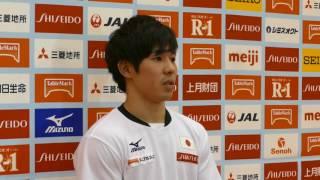 安里圭亮選手 男子体操強化合宿 記者会見